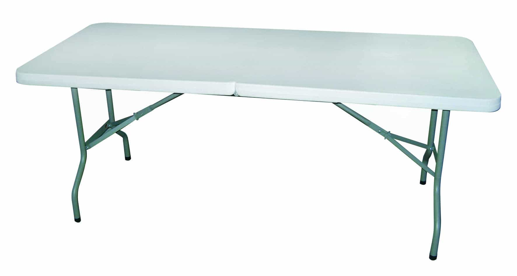 Folding Table made of heavy duty plastic. Easy assembled & sturdy.