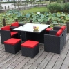 rio grande rattan chair set with red cushions