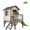 sunny playhouse cabin with green slide